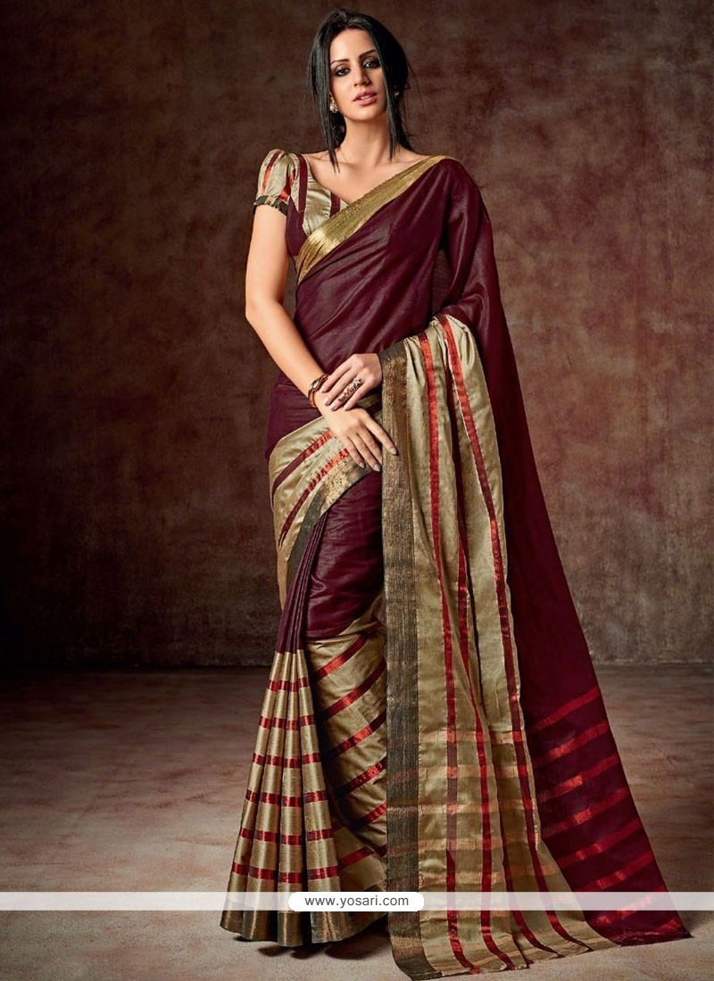 Masterly Maroon Patch Border Work Cotton Casual Saree