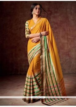 Artistic Orange Casual Saree