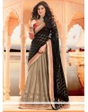 Beige And Black Net Lehenga Saree