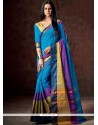 Prominent Blue Patch Border Work Casual Saree