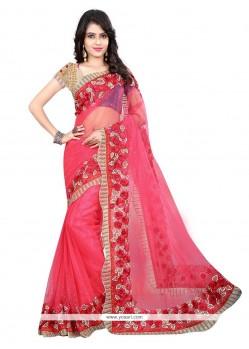 Fab Net Pink Designer Saree