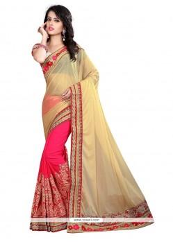 Gratifying Lycra Hot Pink Designer Saree