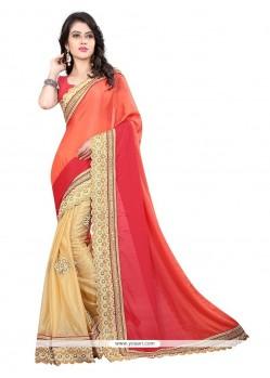 Splendid Embroidered Work Beige Designer Saree