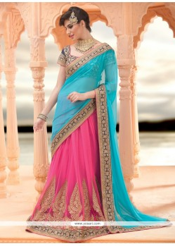 Blue And Pink Embroidery Lehenga Saree