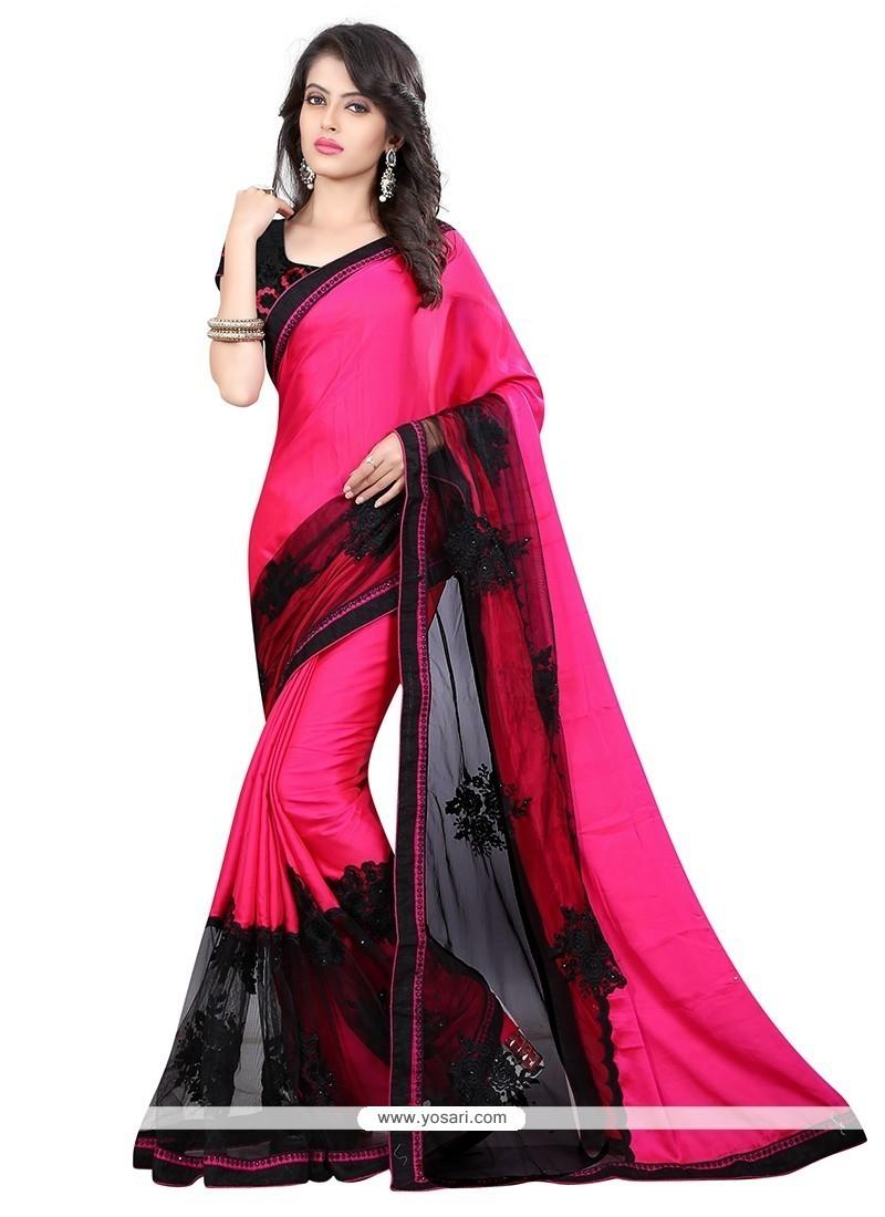 Striking Faux Chiffon Hot Pink Designer Saree