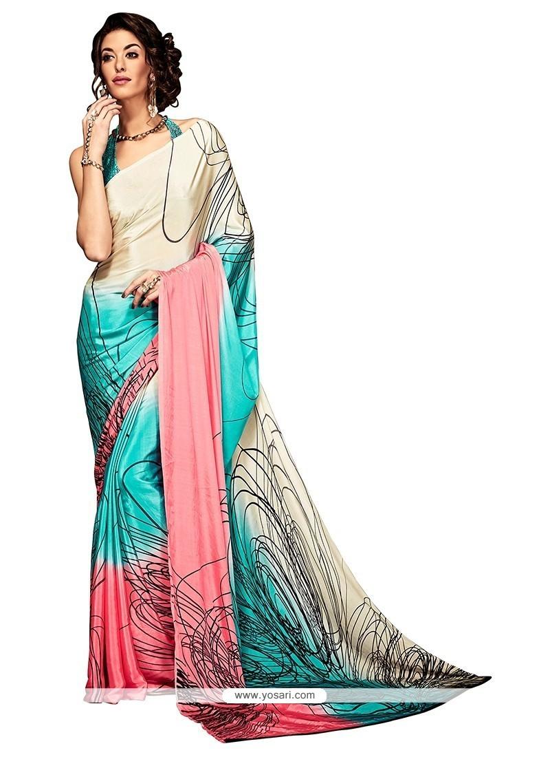 Genius Print Work Crepe Silk Casual Saree