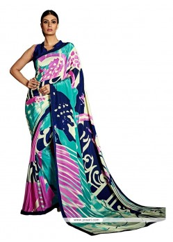 Orphic Crepe Silk Multi Colour Print Work Casual Saree