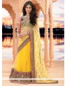 Awesome Yellow Net Lehenga Saree