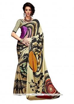 Sightly Print Work Multi Colour Casual Saree