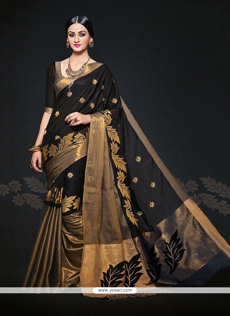 Patch Border Handloom Silk Designer Saree In Black