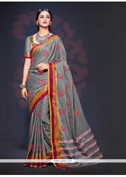 Baronial Grey Designer Saree