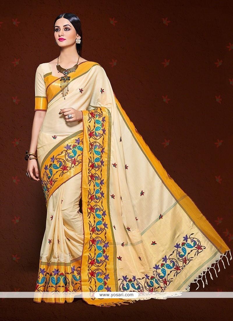 Cream Patch Border Work Handloom Silk Designer Saree