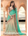 Turquoise And Cream Net Lehenga Saree