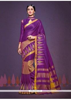 Pleasance Patch Border Work Purple Designer Saree