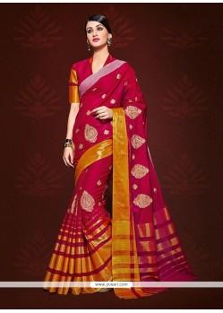Customary Magenta Patch Border Work Designer Saree
