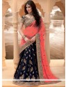 Navy Blue Zari Work Net Lehenga Saree