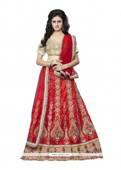 Catchy Silk Red A Line Lehenga Choli