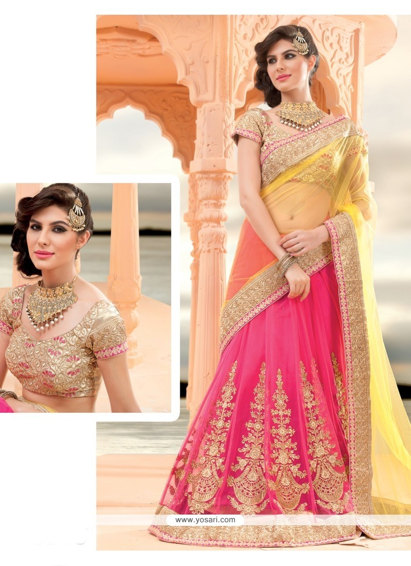 Pink And Yellow Net Lehenga Saree