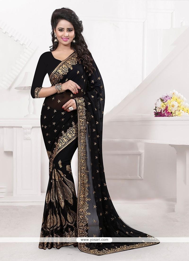 Royal Black Classic Designer Saree