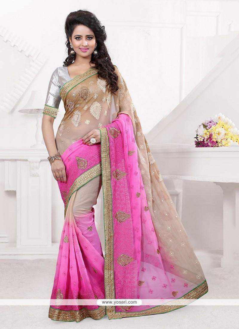 Attractive Pink Patch Border Work Faux Chiffon Classic Designer Saree