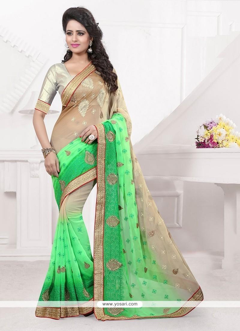Prime Green Embroidered Work Faux Chiffon Classic Designer Saree
