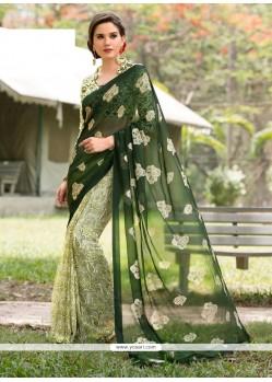 Hypnotizing Green Aari Work Faux Chiffon Casual Saree