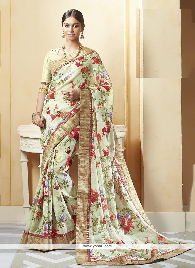 Phenomenal Patch Border Work Silk Printed Saree