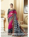 Catchy Magenta Patch Border Work Silk Printed Saree