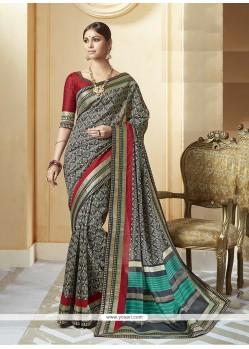 Affectionate Patch Border Work Silk Printed Saree