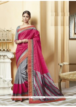 Pristine Silk Hot Pink Printed Saree