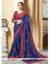 Floral Blue Patch Border Work Silk Printed Saree