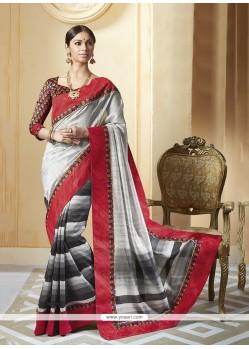 Affectionate Multi Colour Patch Border Work Printed Saree