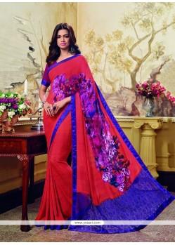 Sophisticated Georgette Multi Colour Print Work Printed Saree