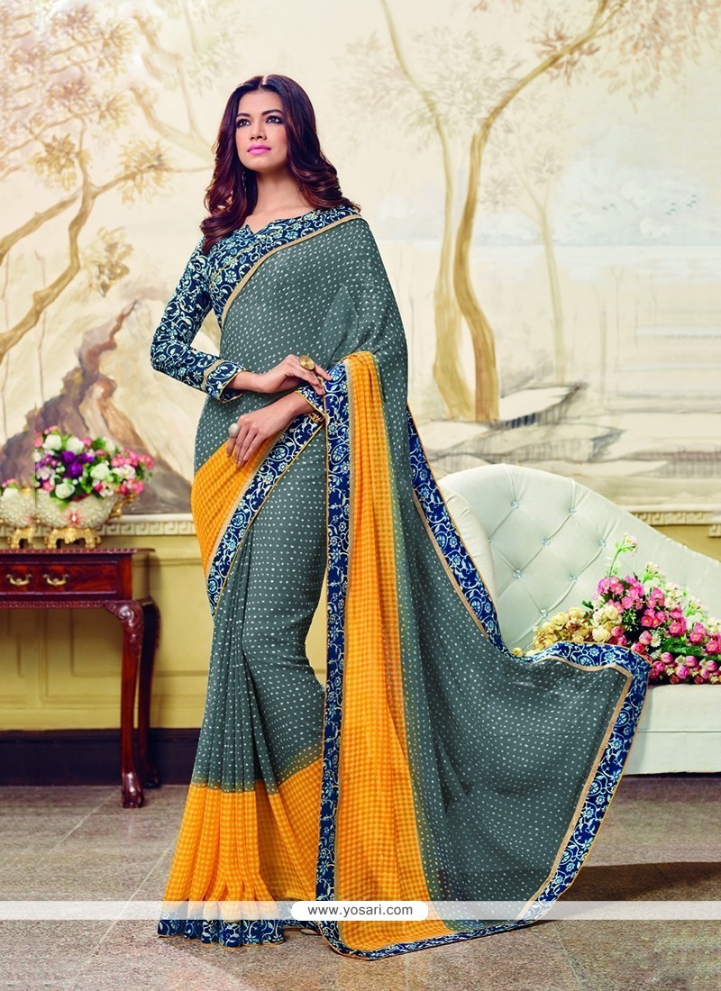 Lovely Georgette Patch Border Work Printed Saree