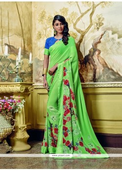 Ravishing Green Print Work Georgette Printed Saree