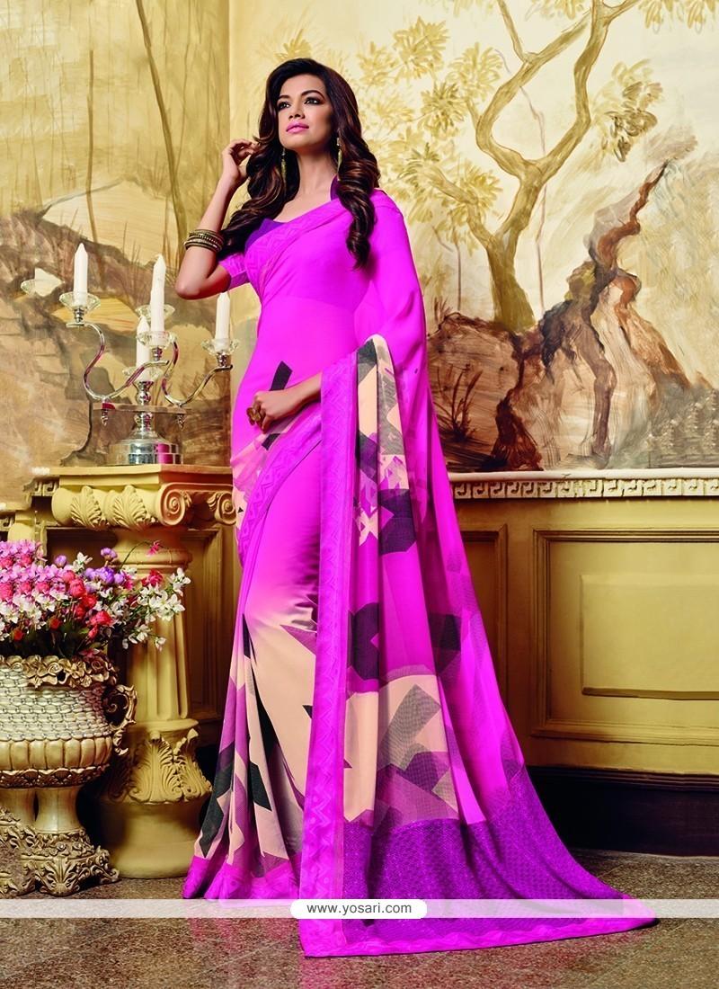 Stunning Georgette Hot Pink Print Work Printed Saree