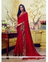 Exquisite Georgette Red Patch Border Work Printed Saree