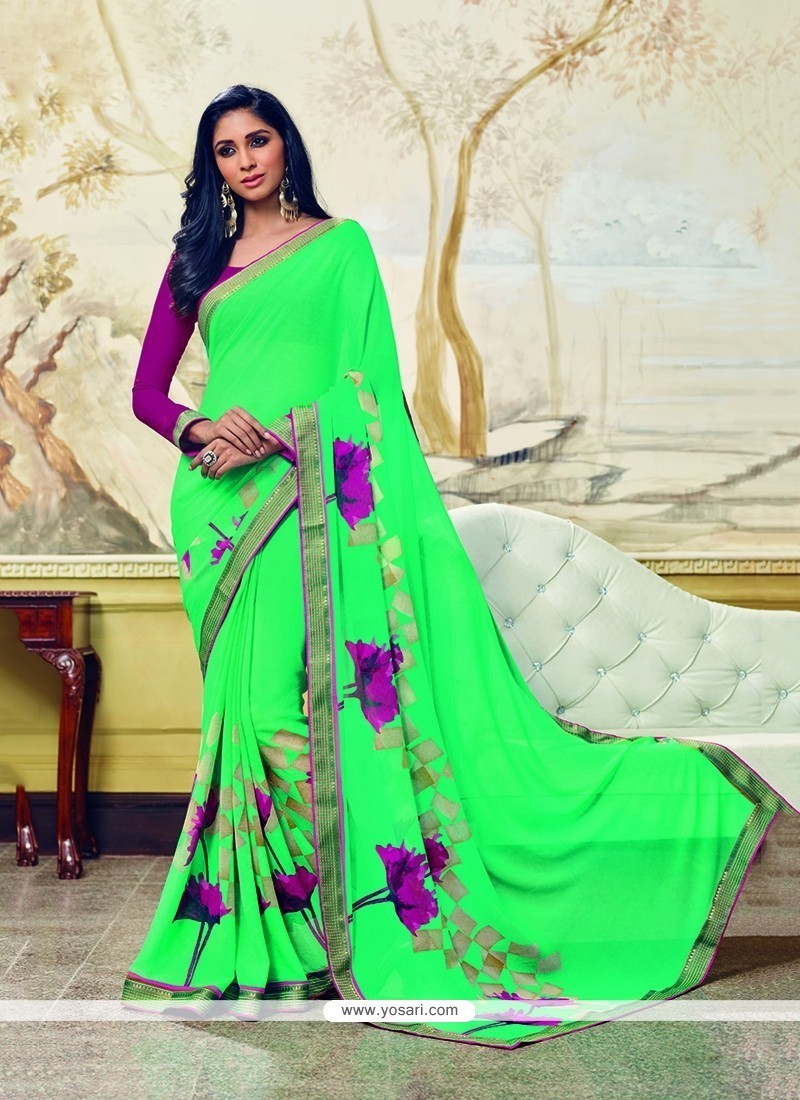 Prodigious Print Work Green Georgette Printed Saree
