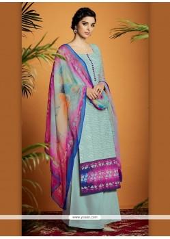 Enticing Digital Print Work Cotton Satin Designer Suit
