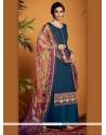Aspiring Digital Print Work Navy Blue Cotton Satin Designer Suit