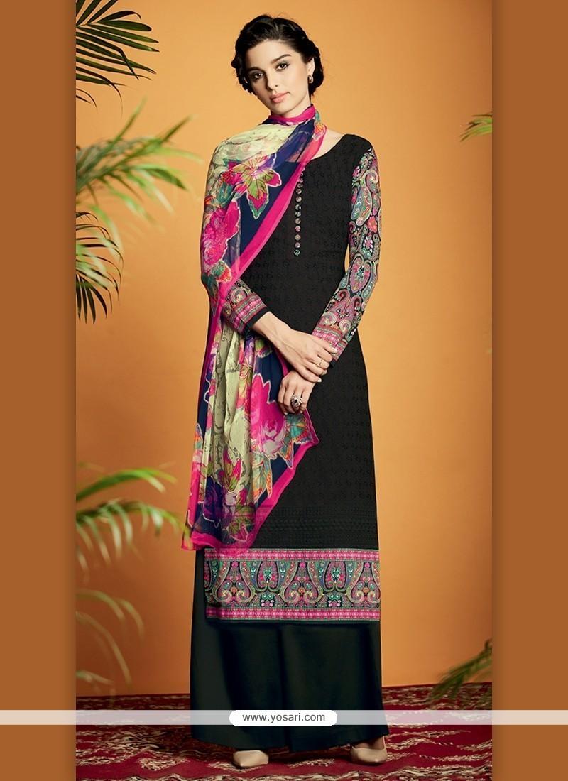 Zesty Cotton Satin Black Designer Suit