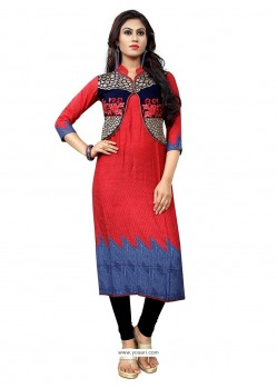 Preferable Embroidered Work Red Cotton Party Wear Kurti