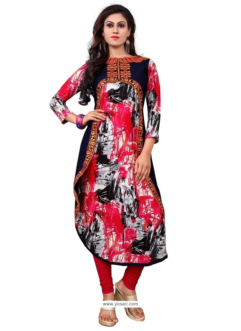 Masterly Multi Colour Embroidered Work Party Wear Kurti