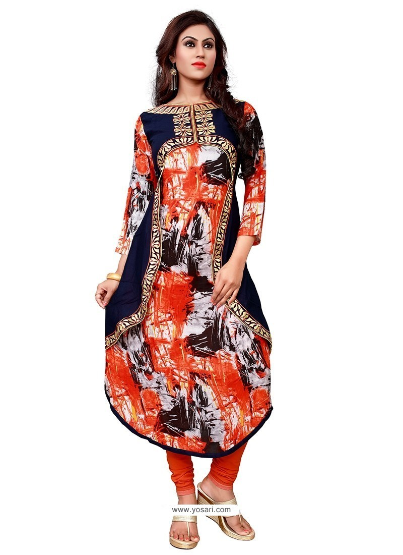 Spellbinding Embroidered Work Multi Colour Cotton Party Wear Kurti