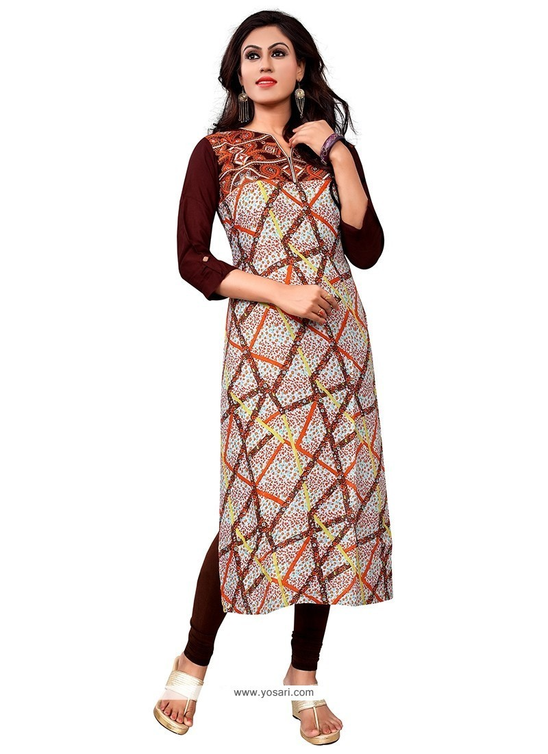 Imposing Multi Colour Embroidered Work Party Wear Kurti