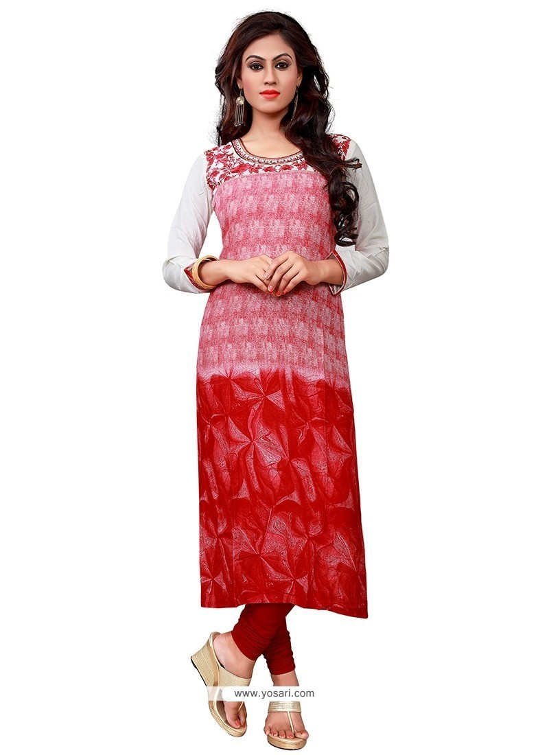 Nice Red Embroidered Work Cotton Party Wear Kurti