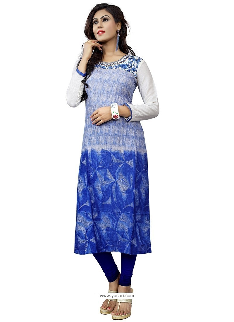 Exciting Blue Embroidered Work Cotton Party Wear Kurti