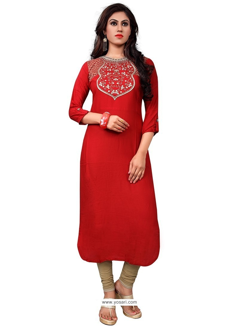 Absorbing Red Embroidered Work Party Wear Kurti