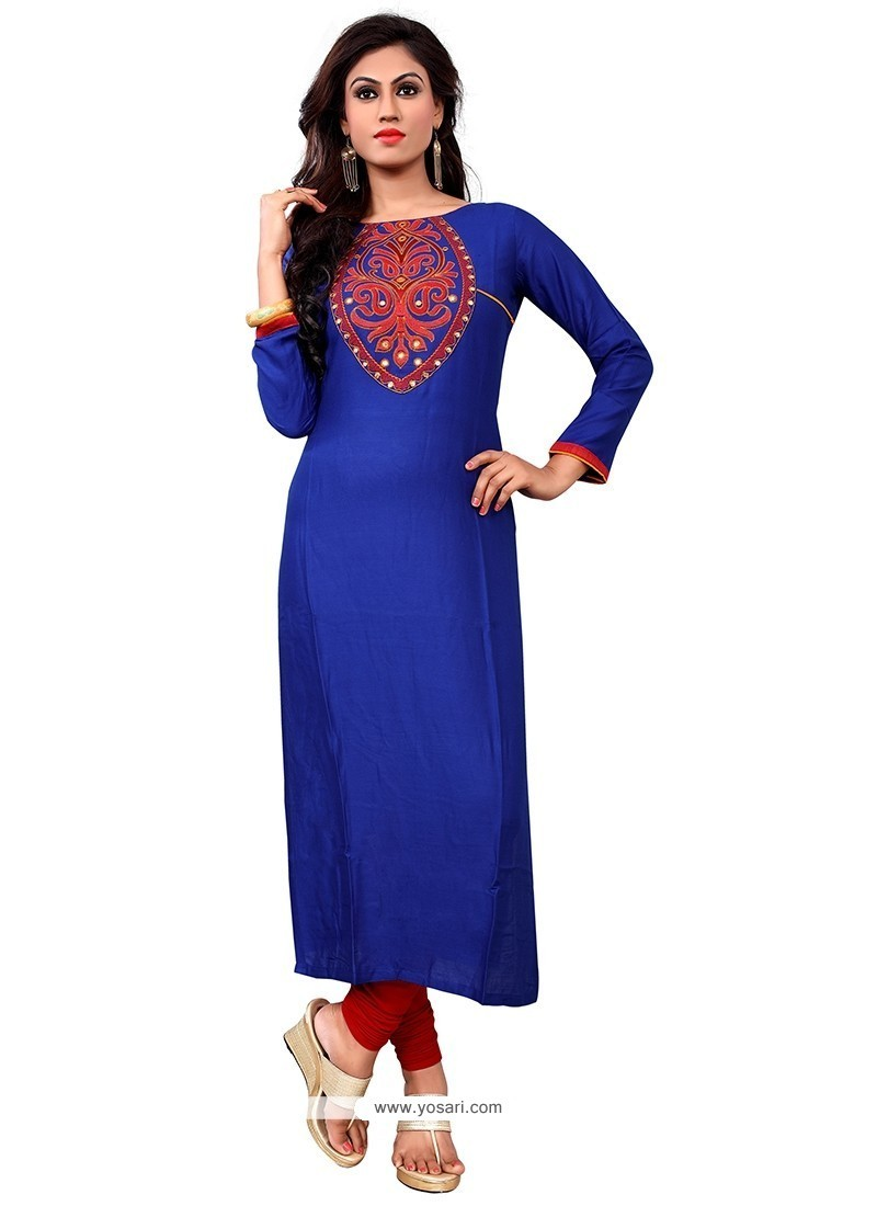 Enticing Cotton Blue Embroidered Work Party Wear Kurti