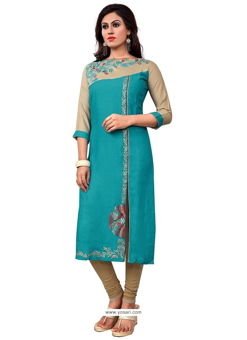 Remarkable Turquoise Cotton Party Wear Kurti